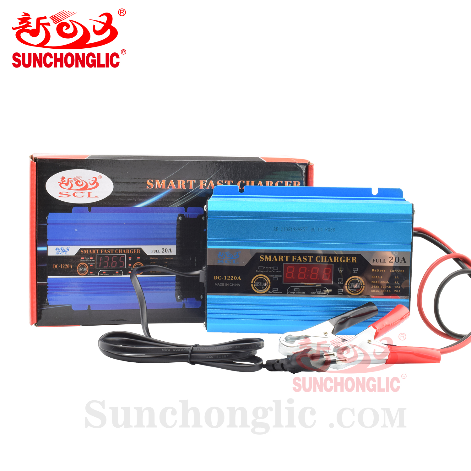Sunchonglic intelligent 12v 20a car battery charger lead acid battery charger