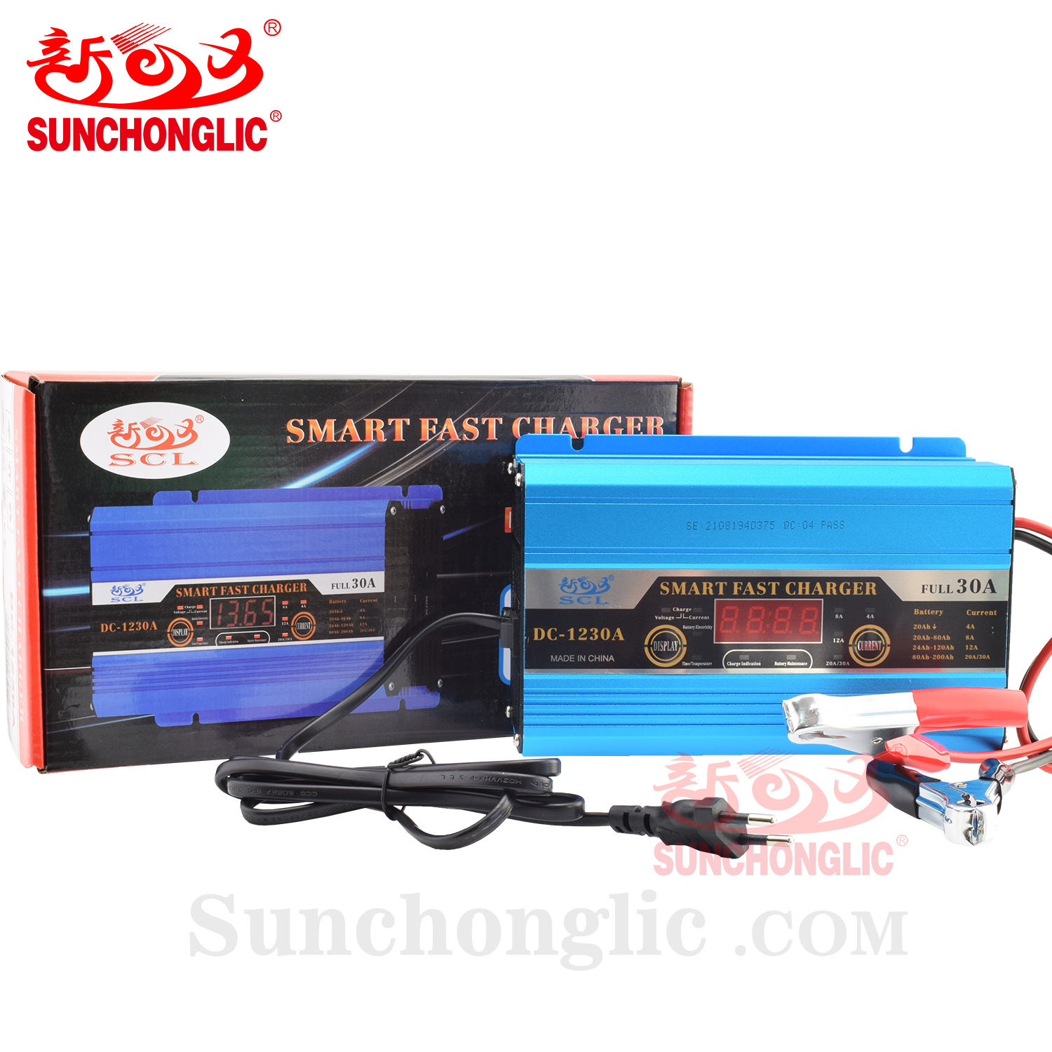 Sunchonglic 12v 30a auto car battery charger for lead acid battery