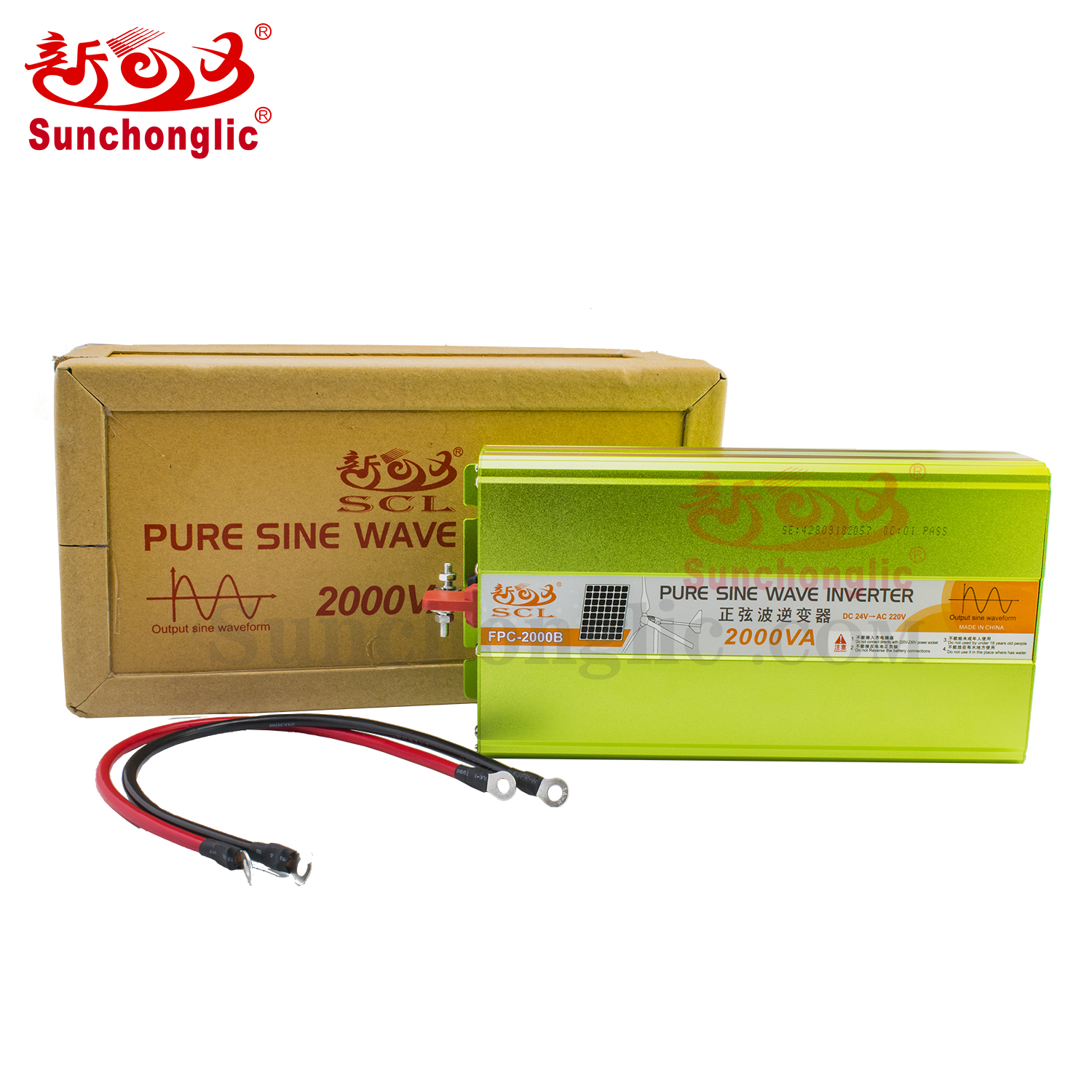 Sunchonglic 24v 220v dc to ac 2000w 2kva pure sine wave power inverter