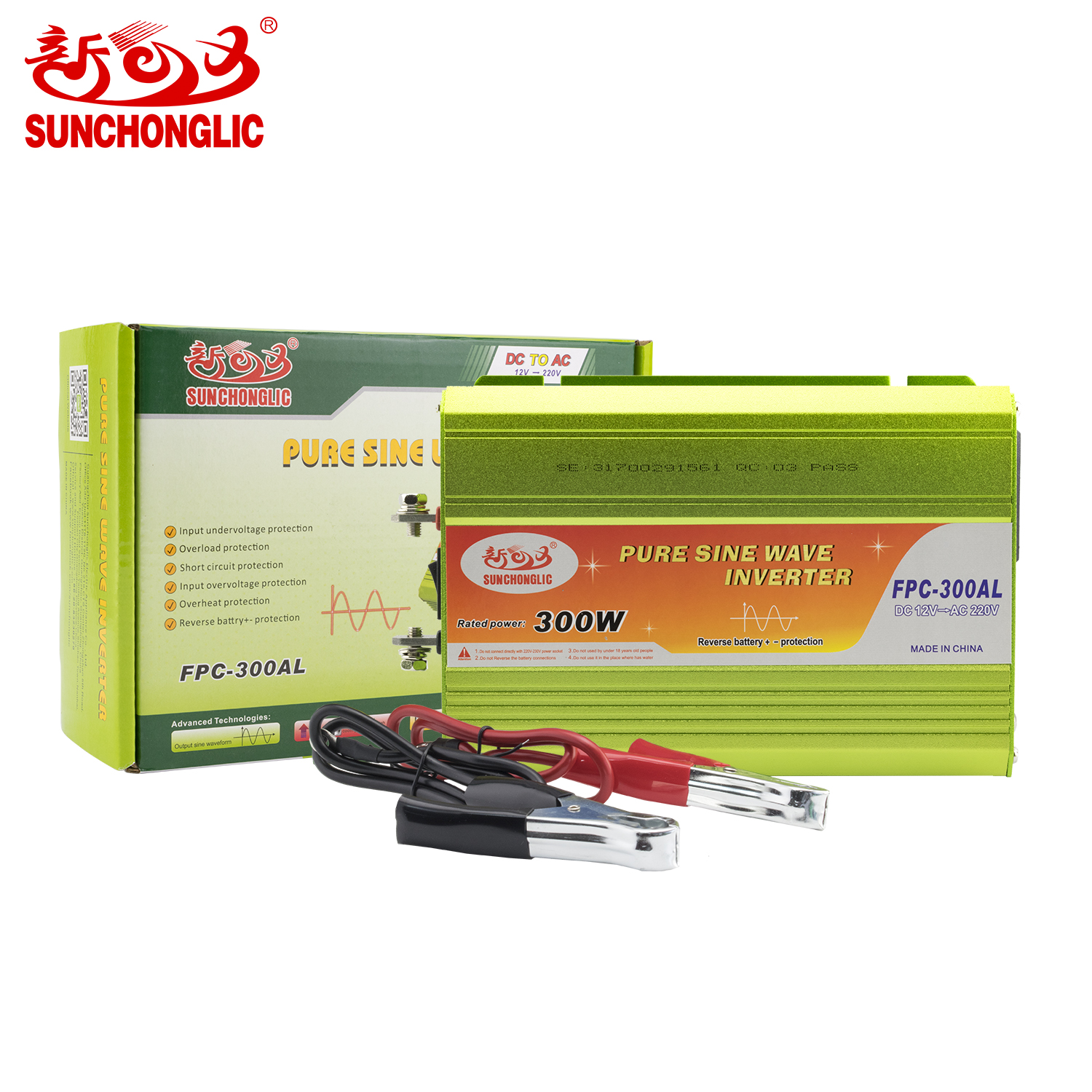 Sunchonglic 12v 220v 300w off grid pure sine wave power inverter