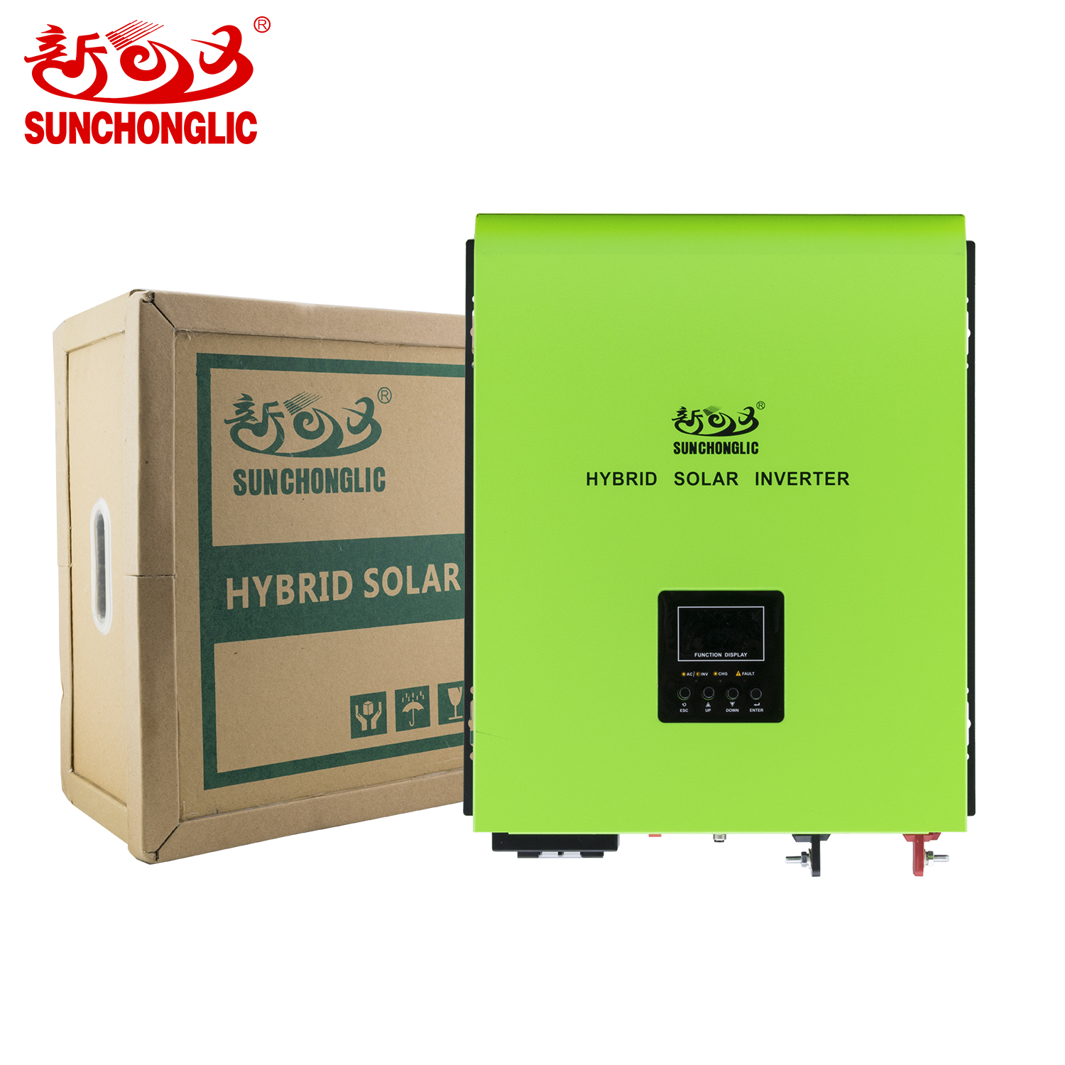 Sunchonglic 48v 5kva 3000w pure sine wave hybrid solar inverter with 30A AC charger and 60A mppt solar charge controller